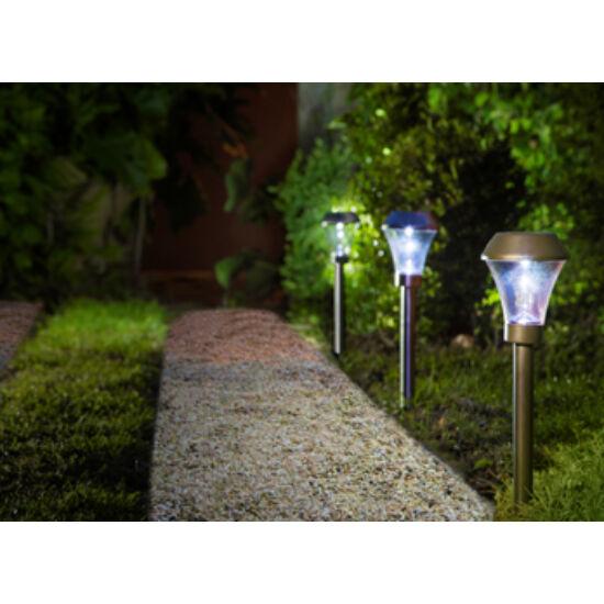 Nortene Areis napelemes leszúrható lámpa 8,5x31cm ledes 300mAh ezüst színben