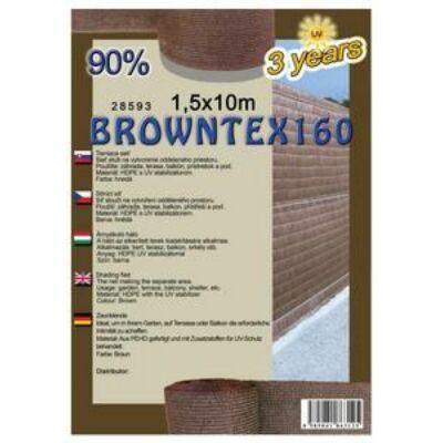 Browntex160 árnyékoló háló 1,5x10m barna 90% belátáskorlátozás 160gr/m2 UV stabil