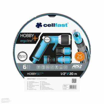 """Cellfast ATS2 Extra Prémium csavarodásmentes locsolótömlő+ Ergo Line Prémium locsolópisztoly szett 1/2"""" 20m"""