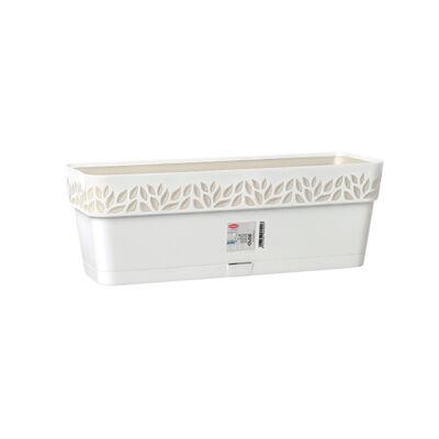 Opera Cloe 3D mintás balkonláda + rápattintós alj 50cm fehér