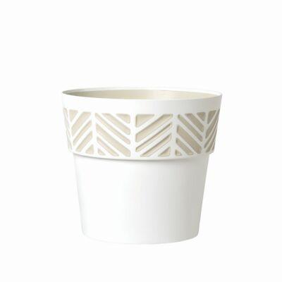 Opera Orfeo 3D mintás kaspó + rápattintós alj 20cm fehér