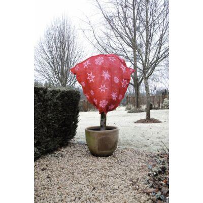 Juta növénytakaró zsák téli mintával piros