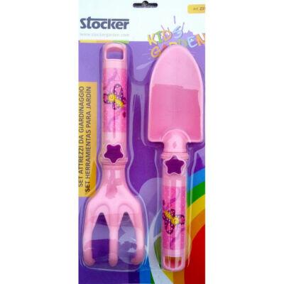 Stocker gyerek 2db -os kerti szerszám műanyag rózsaszin