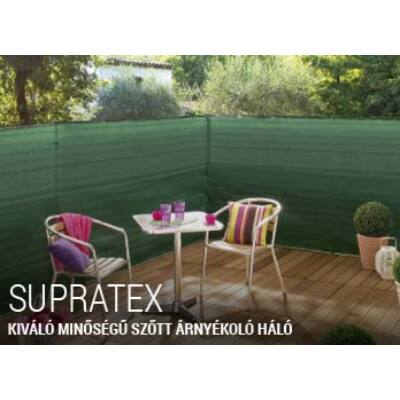 Supratex , szőtt árnyékoló háló 100% belátáskorlátozás UV stabil 1,5x5m Prémium minőségben!
